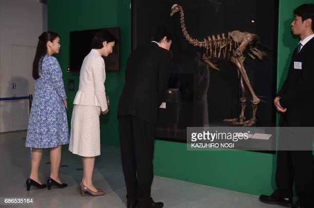 Japanese Prince Akishino Princess Kiko and their daughter Princess Mako visit an exhibition featuring treasured specimens from the natural history...