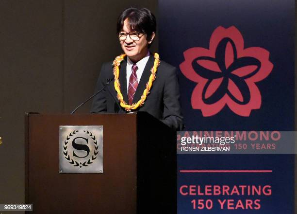 Japanese Prince Akishino speaks at the opening of the 150th anniversary of the Gannemono Symposium in Honolulu Hawaii June 6 2018 The prince and...