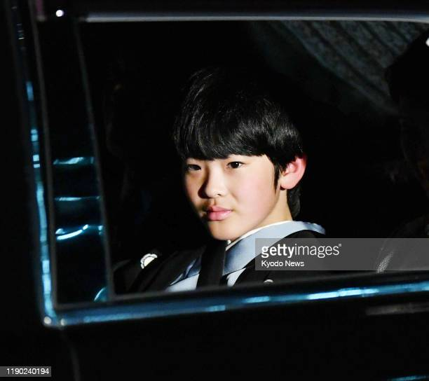 Japanese Prince Hisahito, son of Crown Prince Fumihito, arrives at the Imperial palace in Tokyo on Dec. 23 to celebrate former Emperor Akihito's 86th...