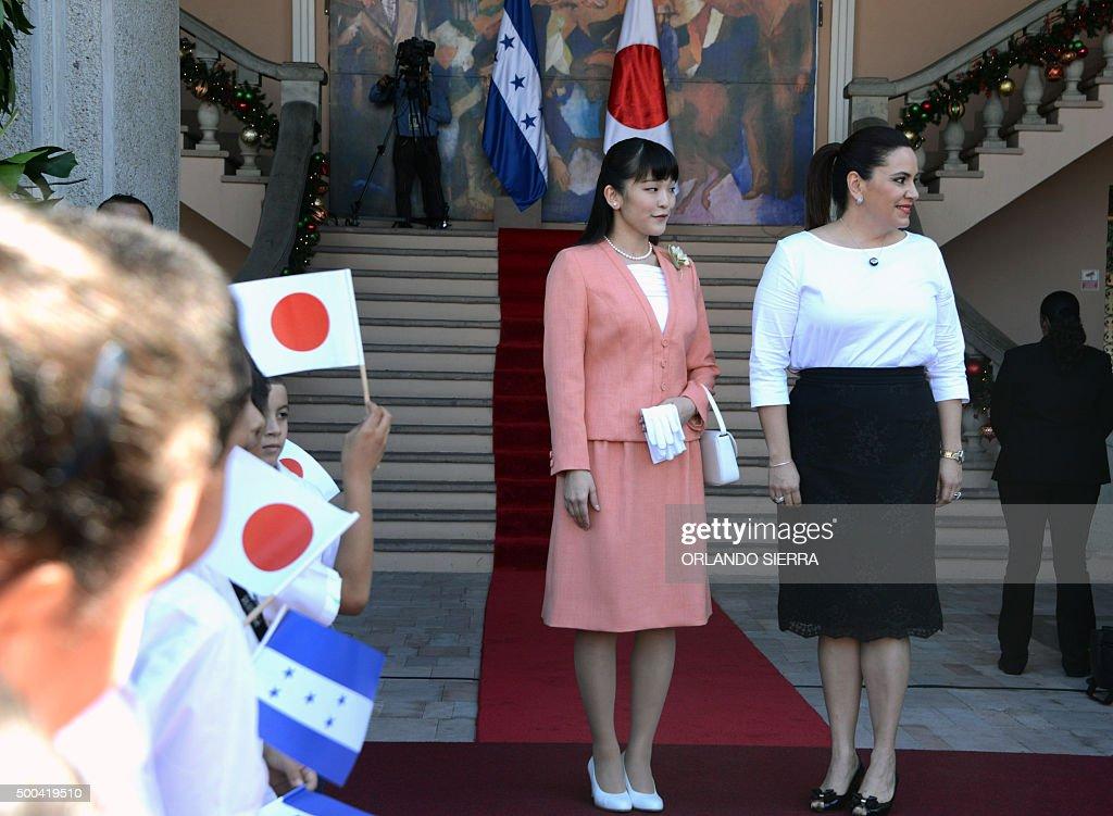 Japanese Princess Mako (L) and Honduras' First Lady Ana Garcia de Hernandez at the presidential house inTegucigalpa, on December 8, 2015. AFP PHOTO/Orlando SIERRA / AFP / ORLANDO