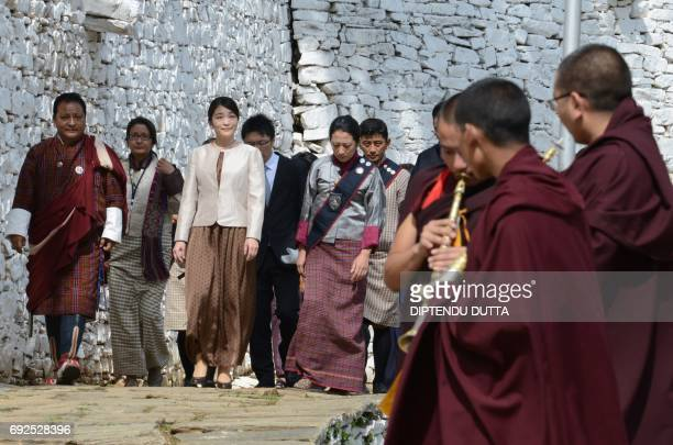 Japanese Princess Mako arrives at Rinpung Dzong on the outskirts of the Bhutanese town of Paro on June 5 2017 Japanese Princess Mako the oldest of...