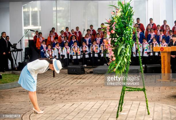 Japanese Princess Mako, the eldest daughter of Crown Prince Akishino and Crown Princess Kiko, lays a wreath at a monument erected in 1999 to...