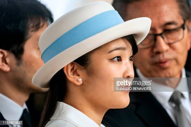 Japanese Princess Mako, the eldest daughter of Crown Prince Akishino and Crown Princess Kiko, attends a wreath laying ceremony at a monument erected...