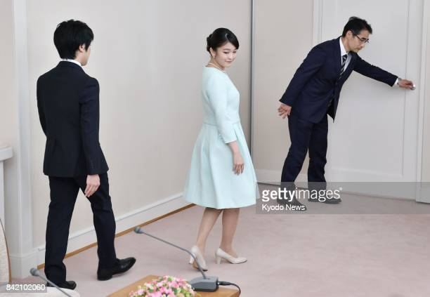 Japanese Princess Mako the eldest granddaughter of Emperor Akihito and Empress Michiko and her longtime boyfriend Kei Komuro leave a news conference...