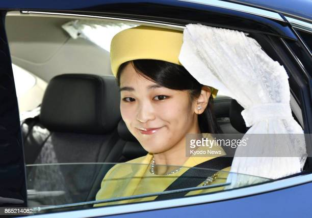 Japanese Princess Mako the eldest granddaughter of Emperor Akihito and Empress Michiko arrives at the Imperial Palace in Tokyo on Oct 23 2017...
