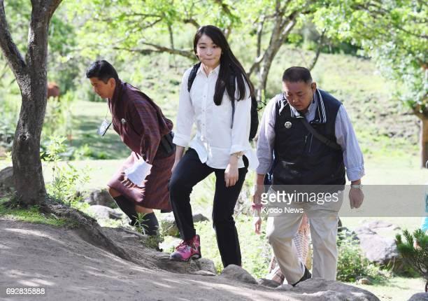 Japanese Princess Mako the first grandchild of Emperor Akihito and Empress Michiko walks to Bhutan's most famous monastery Taktshang Goemba in the...