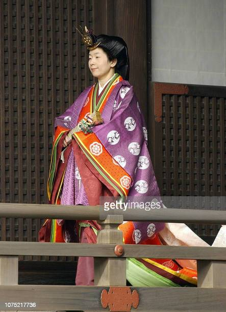 Japanese Princess Sayako wearing the ancient Japanese formal court ensemble junihitoe pays respects at a sanctuary where Japanese gods and the...