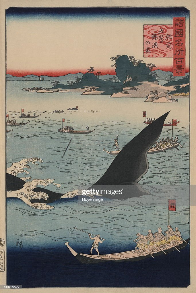 Whale hunting at the island of Goto in Hizen (Hizen goto¯ kujiraryo¯ no zu) : News Photo