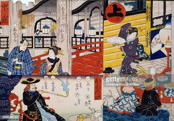 Japanese print showing three scenes from part of a Sugoroku game board By Hiroshige Utagawa Dated 1860