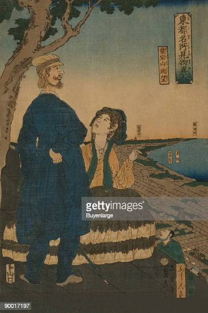 Japanese print shows a French couple looking at the view of Edo from the top of a hill From series entitled To¯to meisho¯ kenbutsu ijin Done by...