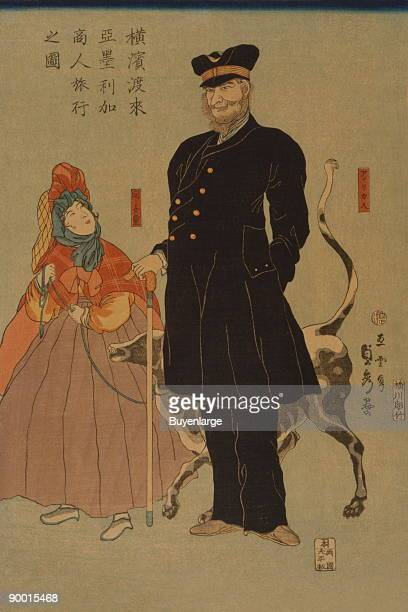 Japanese print shows an American merchant and his daughter walking with a dog on a leash in Yokohama Japan Reflection of the cultures of Yokohama in...