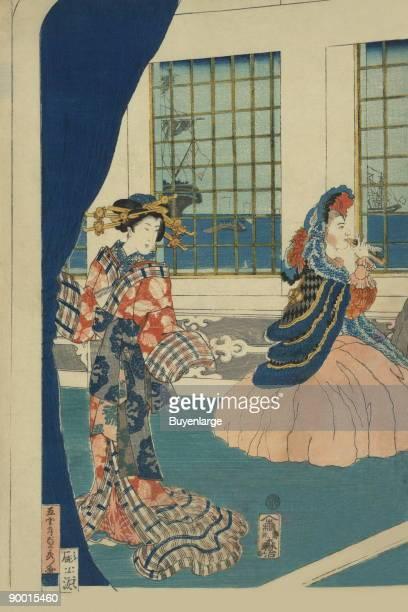 Japanese print shows courtesans in a westernstyle building of Yokohama Done by Sadahide Utagawa in 1861