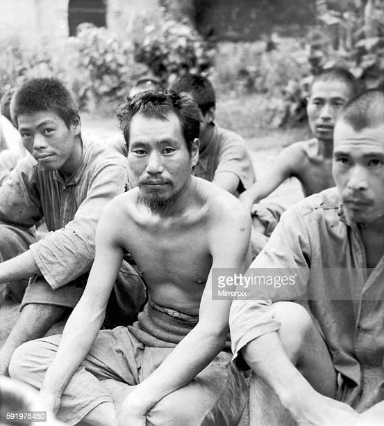 Japanese Prisoners of war in a compound a Rangoon, Burma after being captured by British forces during recent fighting in the Second World War. 8th...