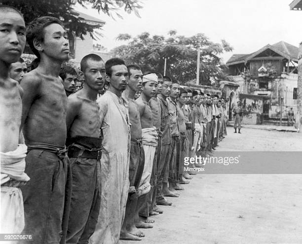 Japanese Prisoners of war in a compound a Rangoon, Burma after being captured by British forces during recent fighting in the Second World War. 22nd...