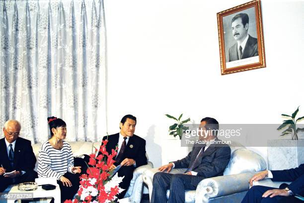 Japanese professional wrestlerturned lawmaker Kanji Inoki aka Antonio Inoki hold talks with Iraq's Council of Representatives speaker in attempt of...