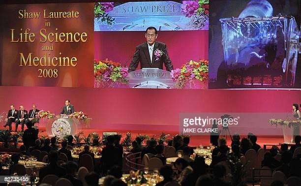 Japanese professor Shinya Yamanaka speaks at the Shaw Prize award presentation ceremony in Hong Kong on September 9 2008 The groundbreaking...