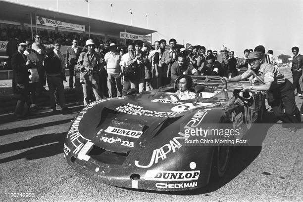 Japanese racer K Misaki is the secondrunner up of the 18th Macau Grand Prix 21 November 1971