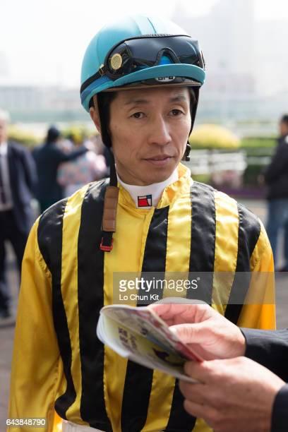 Japanese racing legend Yutaka Take participates the International Mixed Doubles Jockeys Challenge at the Taipa Racecourse on January 21 2017 in Macau...