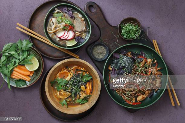 japanese ramen noodle soup, udon noodle soup and  yaki soba noodles. - soba stock pictures, royalty-free photos & images