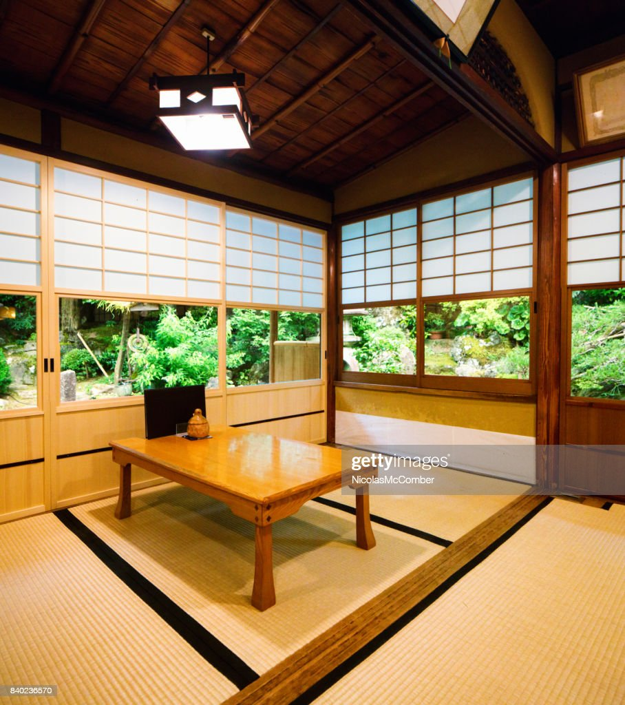 Japanese Restaurant Dining Room With Sliding Doors And Garden Stock