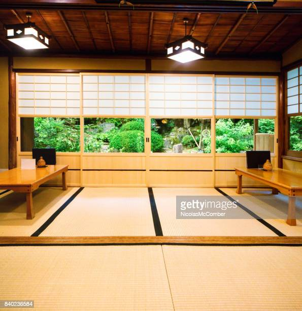 Japanese restaurant dining room with sliding doors tatami and garden