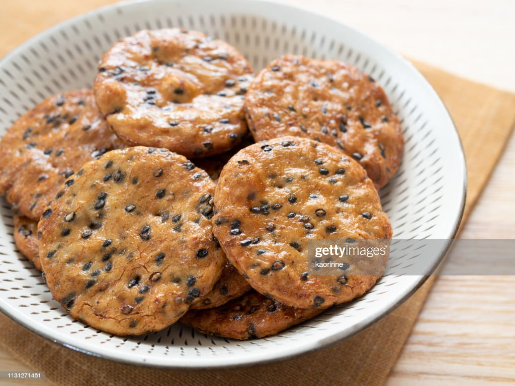 Japanese rice cracker : Stock Photo
