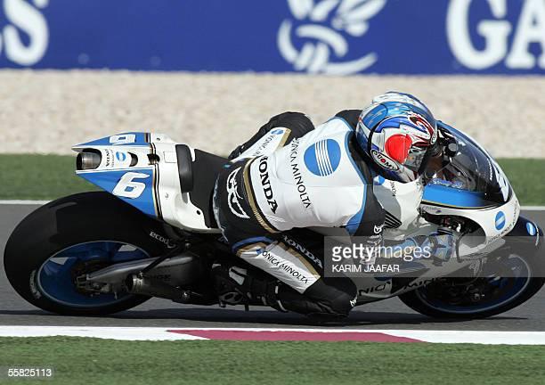 Japanese rider Makoto Tamada of Honda speeds during a free practice session of Qatar Grand Prix World Championships in Doha 29 September 2005 Qatar...
