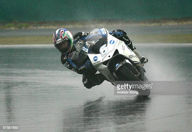 Japanese rider Makoto Tamada of Konica Minolta Honda turns a corner during the practice session at the China MotoGP on May 12 2006 in Shanghai China
