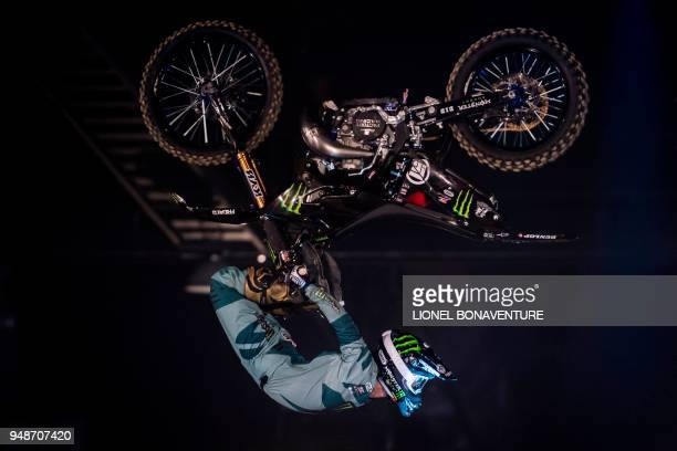 TOPSHOT Japanese rider Taka Higashino performs during a motocross freestyle show in Tours on April 7 2018 Each time their life is at stake freestyle...