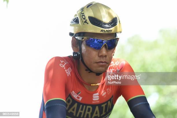 Japanese rider Yukiya Arashiro from team Bahrain Merida during a warm up ahead of the opening stage 26km Individual Time Trial in Daisen Park Sakai...