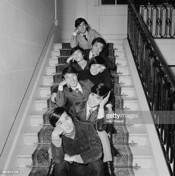 Japanese rock band The Spiders at their hotel in London during their first tour of Britain, 8th November 1966. From top to bottom, they are Jun...