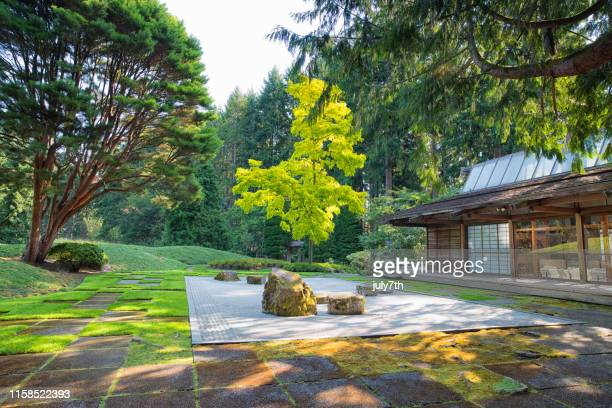 japanese rock garden at the bloedel reserve - bainbridge island stock pictures, royalty-free photos & images