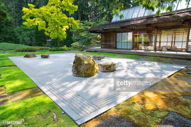 japanese rock garden - kitsap county washington state stock pictures, royalty-free photos & images