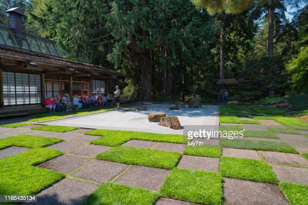 japanese rock garden - bainbridge island stock pictures, royalty-free photos & images