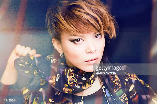 Japanese rock Singer Amwe poses during a portrait session held on November 26 2011 in Paris in France