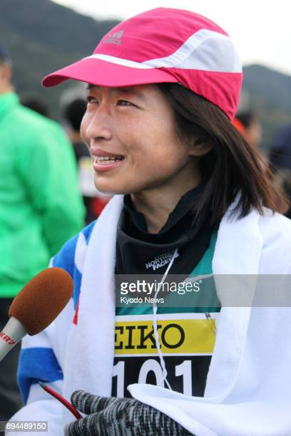 Japanese runner Misato Michishita speaks to reporters in Hofu Yamaguchi Prefecture western Japan on Dec 17 after winning the visually impaired...