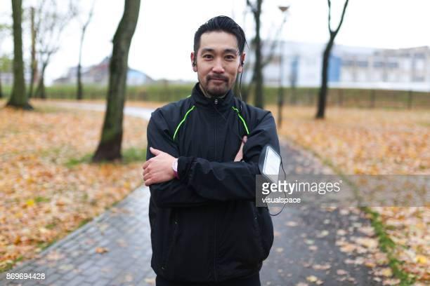 ウェアラブル技術を持つ日本のランナー
