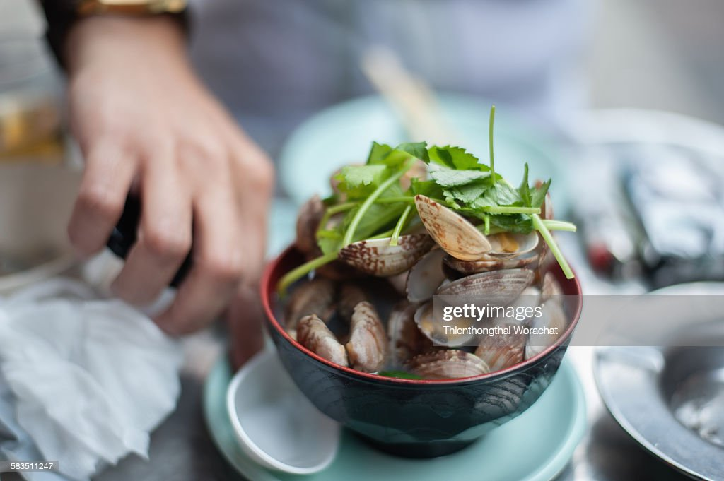 Japanese sake Steamed Clams : Stock Photo