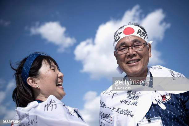 Japanese 'Samurai Blue' fans pose for portraits prior to the 2018 FIFA World Cup Russia group H match between Japan and Senegal at Ekaterinburg Arena...