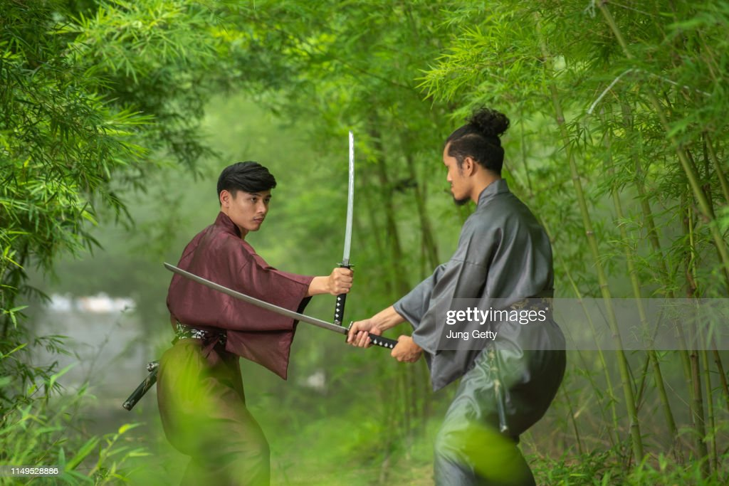 Japanese samurai fighter wearing traditional uniform : Stock Photo
