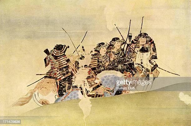 Japanese Samurai on coastal patrol during the Mongolian incursion of 1281 nineteenth century print
