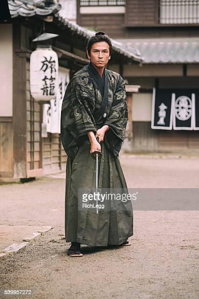japanese samurai ronin in edo period town - samurai stock pictures, royalty-free photos & images