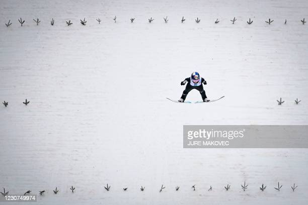 Japanese Sara Takanashi competes during the Women Normal Hill Team competition of the FIS Ski Jumping World Cup in Ljubno, on January 23, 2021.