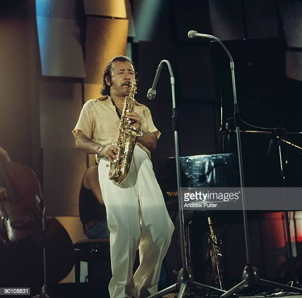 Japanese saxophonist Sadao Watanabe performs on stage at the Montreux Jazz Festival on July 18, 1975.