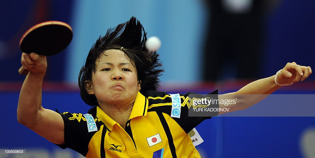 Japanese Sayaka Hirano returns the ball to Taiwanese Huang Yi-Hua on May 25, 2010 during their match at the 2010 World Team Table Tennis Championships in Moscow.