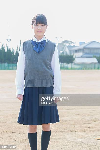 Japanese schoolgirls to stand still