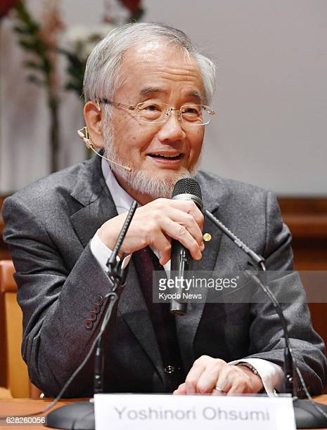 Japanese scientist Yoshinori Ohsumi who won the 2016 Nobel Prize in physiology or medicine for his study on cell recycling attends a news conference...