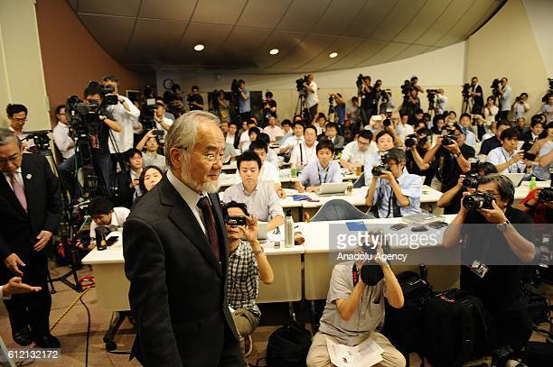 Japanese scientist Yoshinori Osumi Honorary Professor of Tokyo Institute of Technology attends a news conference at Tokyo Institute of Technology in...