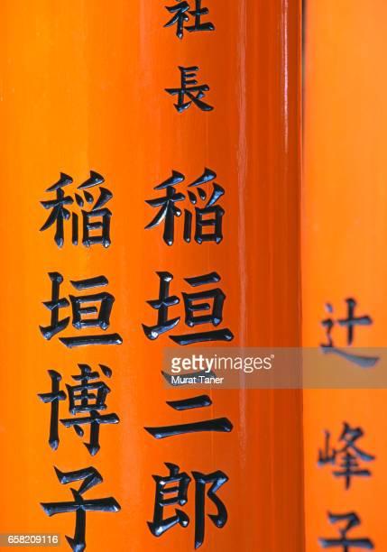 Japanese script on torii gates at Fushimi Inari Shrine