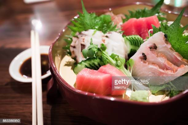 Japanese seafood sushi and sashimi